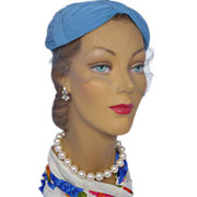 Vintage 1950s Blue Silk Chiffon Mother of The Bride Hat