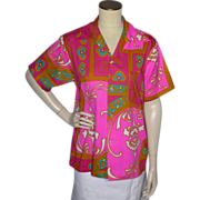 Vintage 1960s Mr Kailua Hawaiian Print  Pink Shirt