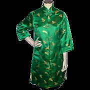 SALE Vintage 1960s Emerald Green Silk Brocade Evening Coat Made in Japan