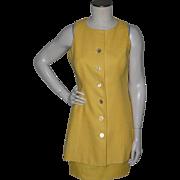 Vintage 1970s Scaasi 2pc Yellow Linen Suit