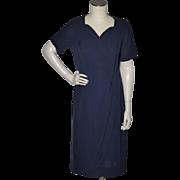 SALE Vintage 1950s Radiant Exclusive Navy Blue Rayon Crepe Dress