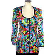 Vintage 1980s Lillie Rubin Colorful Print Silk Sequined Jacket