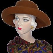 Vintage 1980s Russet Brown Wool Felt Hat Faux Leopard Trim Seasons By S & S Hat Co