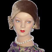 Vintage 1970s Mr John Classic Turban Style Hat Taupe Velour