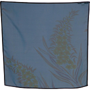 Vintage Bernie of New York Teal Blue Silk Scarf Floral Print