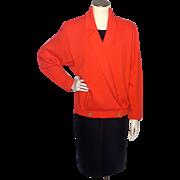 Vintage 1980s Marie St John Red Orange Knit Sweater Jacket