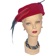 Vintage 1950s Red Wool Pillbox Hat With Sweeping Feathers Sold at Weils Goldsboro