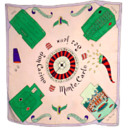 Vintage 1950s Monte Carlo Souvenir Scarf Casinos and Gambling Hand Painted