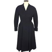 Vintage 1950s Rafi New York Black Coat Dress Forstmann Wool