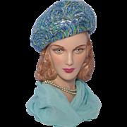 Vintage 1960s Dowa Bubble Beret Hat Shades of Blue