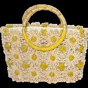Vintage Cappelli Daisy Straw Handbag Woven Corn Husk