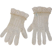 Vintage Pair of Girls Crochet Lace Gloves Made in France