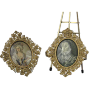 Pair of Ornate Gilt Metal Filigree Frames.