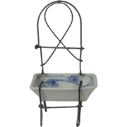Miniature German Wire Work Washstand With Blue Onion Pattern Basin Dollhouse