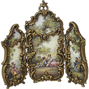 Antique Austrian Enamel Gilt Bronze Dore MIniature 3 Section Screen