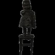 Juan Clara Bronze Figure Girl Child On Stool C1900