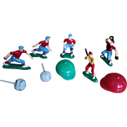 SOLD Vintage Baseball Birthday Cake Toppers Sports Figurines - Plastic Cupcake Decorations- 19