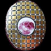 SALE Gold and Black Hand-Painted Porcelain Brooch Artist Signed