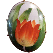 SALE Hand-Painted Porcelain Turn of the Century Tulip Brooch Pin