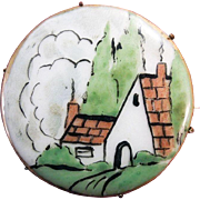 SALE Hand-Painted Porcelain Country Cottage Scene Brooch Pin