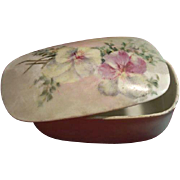 SALE Victorian T & V Limoges Hand-Painted Porcelain Box with Match Striker