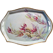 "Hand-Painted Porcelain Tray Circa 1925 Hallmarked & Signed ""E. Olmsted"" Silesia"