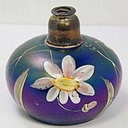 "Two hand-painted enamel and iridescent ""Loetz"" type perfumers"