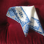 SOLD Art Deco Silk Blue and White Geometric Design Pocket Square