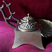 SOLD Beautiful Bronze 19th Century Inkwell and Pen Rest