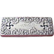Sterling Silver Victorian Hand-Chased Vinaigrette Dated 1902