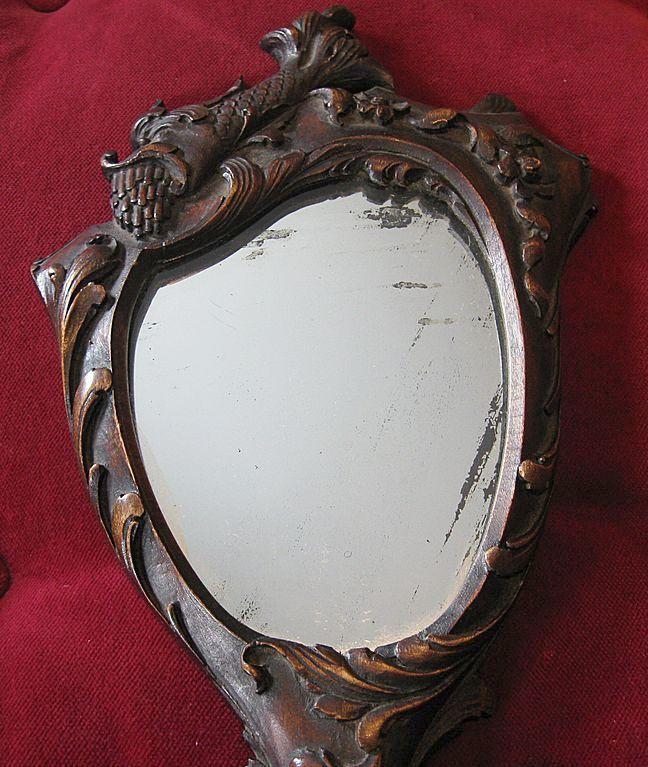 Antique Hand Mirror Value: Exquisite Wooden Carved Victorian Hand Mirror Circa 1880