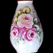 Hand-Painted Porcelain Rose Bud Vase Plankenhammer Bavaria, Germany