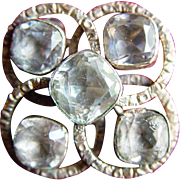 Victorian Gold-Filled and White Sapphire Five-Stone Brooch
