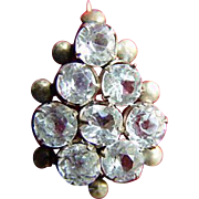Gold-Filled White Sapphire 8-Stone Edwardian Brooch Pin