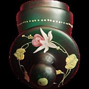 Turn of the Century Green Hand Blown Glass Enameled Top Boudoir Jar
