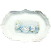 Turn of the Century Swan Porcelain Pin Tray