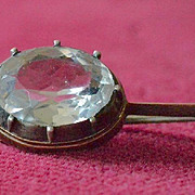 Edwardian Multi-Faceted White Sapphire Brooch Pin in Silver and Gold Setting