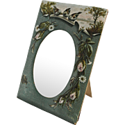 Antique 19th Century Victorian Paper Picture Frame With Scenic Birds and Flowers