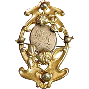 Art Nouveau Gold and Brass Brooch Dated 12-25-04