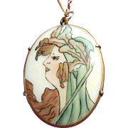 Art Nouveau Hand-Painted Porcelain Portrait of Lady on Chain