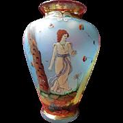 Exquisite Hand-Painted Art Nouveau Glass Vase Circa 1900-1910