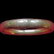 14K Gold Filled  F.M. CO. Victorian Etched Bangle Bracelet
