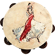 Vintage Hand-Painted Flamenco DancerTambourine