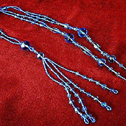Exquisite 1920's Blue Crystal Flapper Necklace