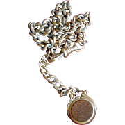Art Deco Goldstone and Moonstone Gold-Filled Watch Fob and Chain