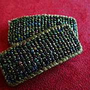 SOLD Green Iridescent Art Deco Seed Bead Shoe Clips