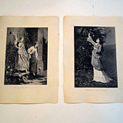 Pair 19th Century Prints Entitled 'The Letter At The Gate' and 'Gathering Wild Flowers'