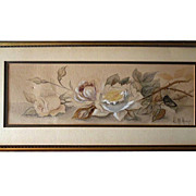 19th Cenury Signed  Watercolor 'White Roses' by E.M. Keefe