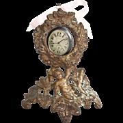 Victorian Cherub Gilded Iron Pocket Watch Holder Circa 1875