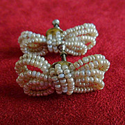 SOLD Fabulous 1950's Vintage Seed Pearl Bow Earrings
